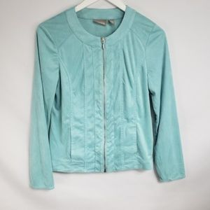 Chico's Mint Green Microfiber Suede Zip Up Jacket
